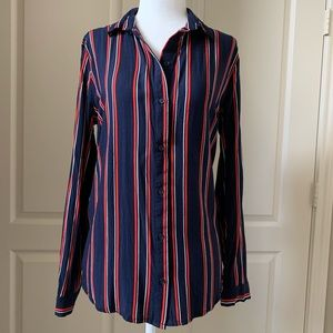 Ladies stripe top with buttons